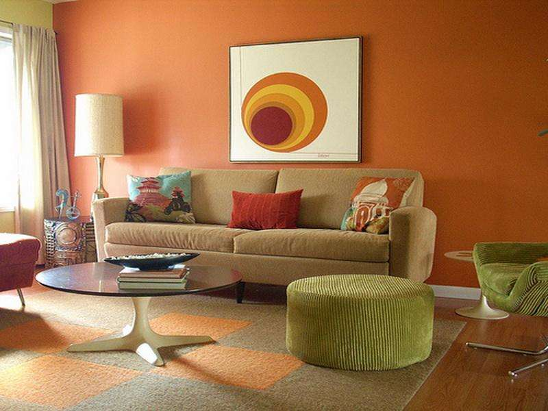 Living Room Simple Orange Decorating Ideas