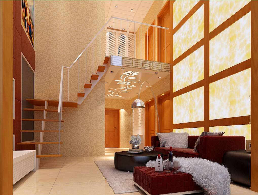Living Room Stairs Pane Wall House
