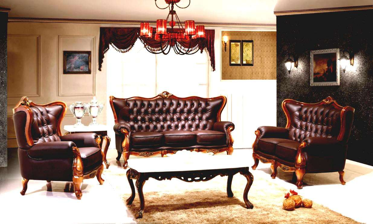 Living Room Victorian Leather Sofa