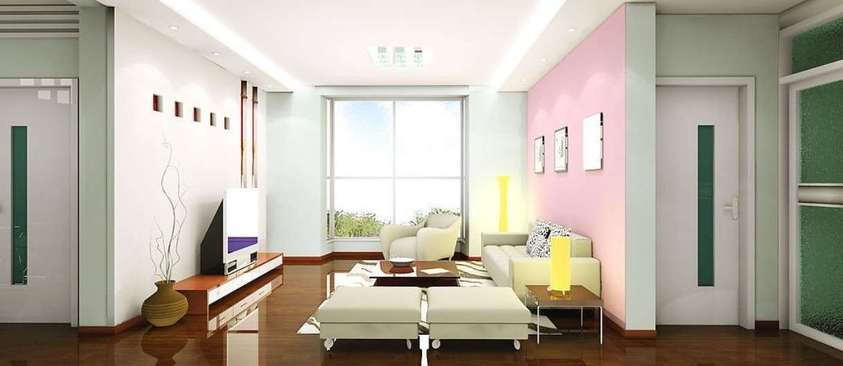Living Room Wall Colors Rendering Interior Paint Wood