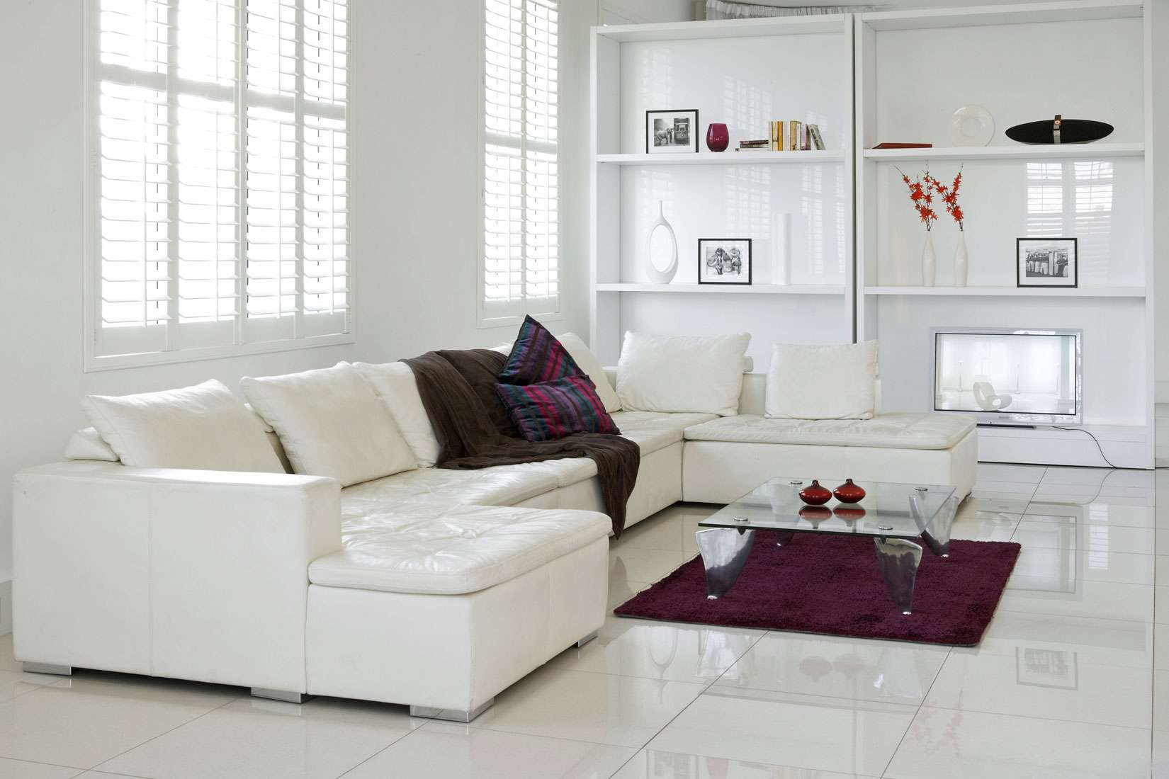 Living Room Wall Shelves Design White Chaise Lounge Sofa Bed