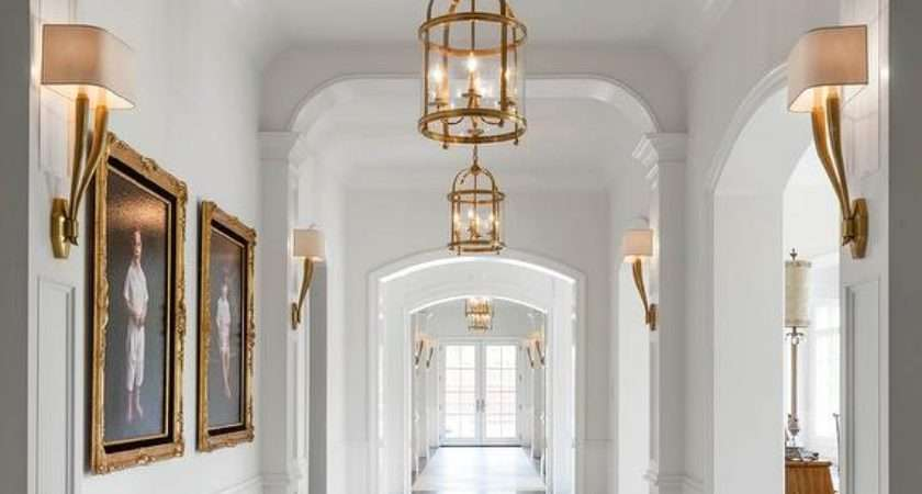 Long Hallway Antique Brass Sconces Lanterns