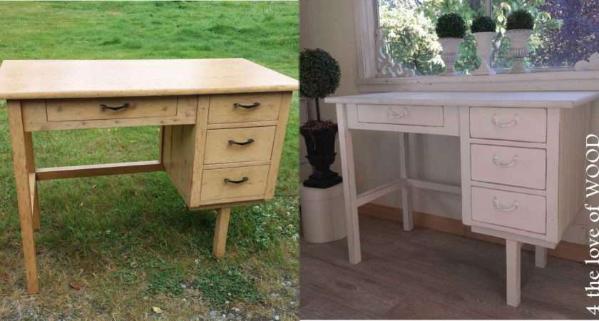 Love Wood Painting Country Style Desk New Shabby Chic