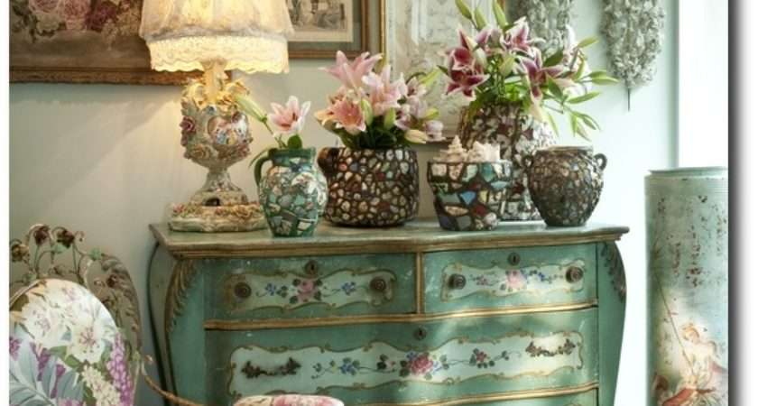 Lovely Green Floral Prints Italian Painted Chest