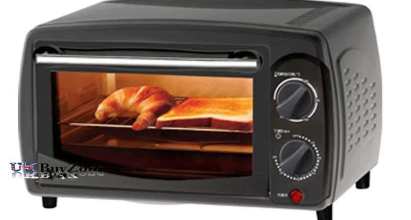 Ltr Mini Electric Oven Grill Toaster Black Counter Table Top Compact