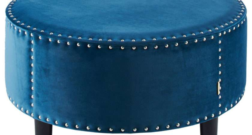 Lynn Round Teal Ottoman Contemporary Footstools