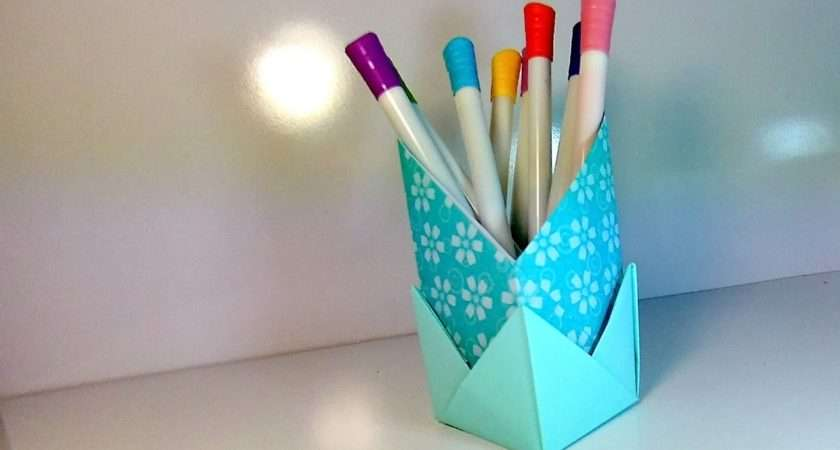 Make Origami Stand Pencils Crafts Out Paper