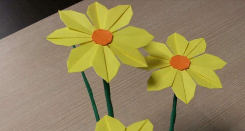 Make Pretty Paper Craft Origami Yellow Flower Step Diy