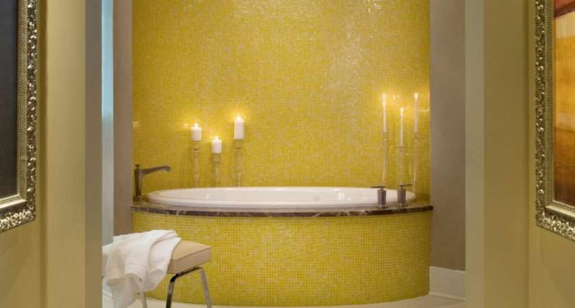 Master Bathroom Yellow Mosaic Tile Tub Bath