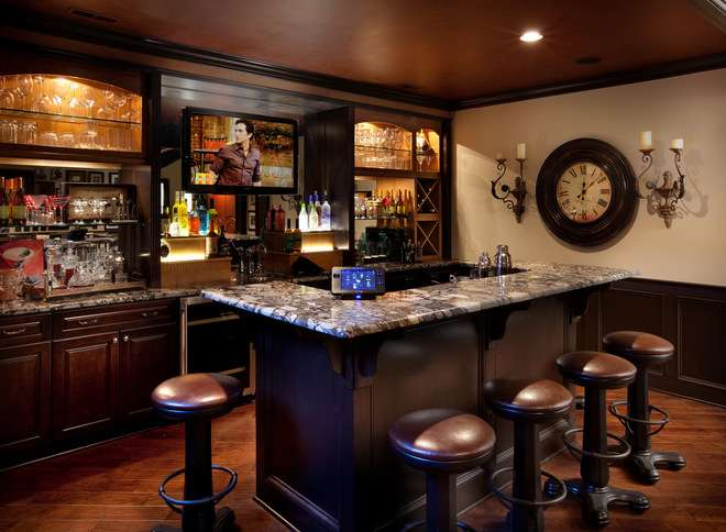 Mediterranean Home Bar Romanelli Hughes Custom Builders