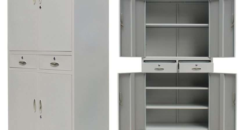Metal Office Cabinet Doors Drawers Grey Vidaxl