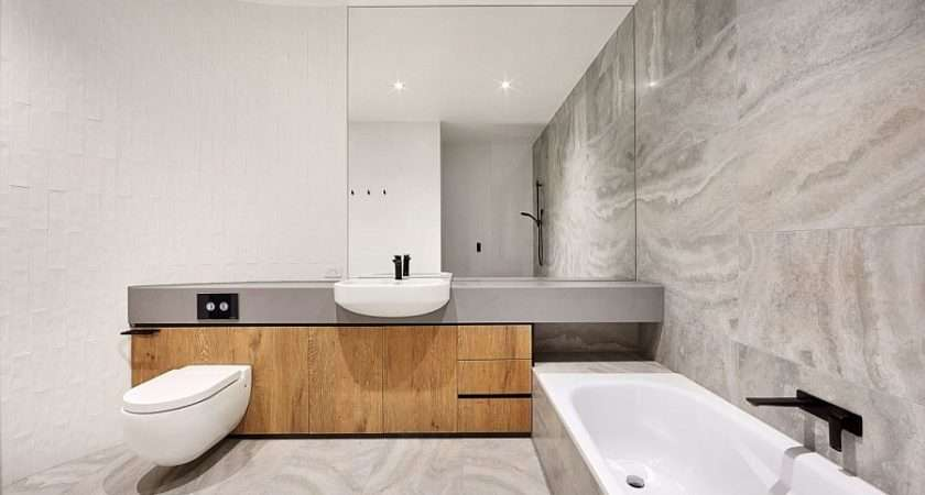 Minimal Bathroom Design White Gray Curved Wall