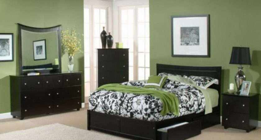 Modern Bedroom Interior Wall Green Paint Color Schemes