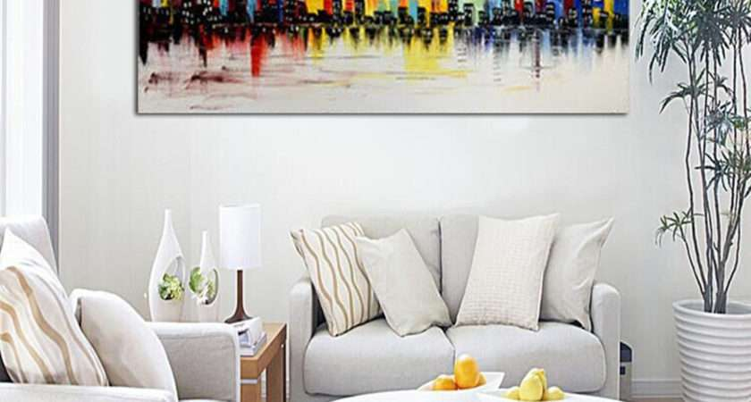 Modern City Canvas Abstract Painting Print Living