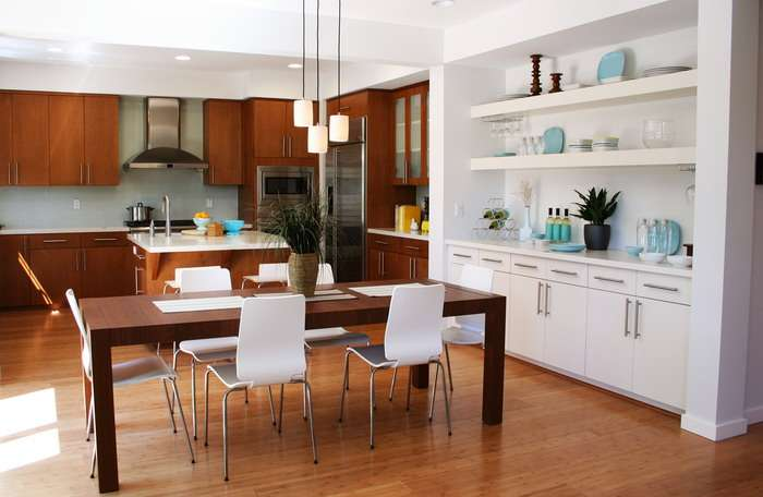 Modern Kitchen Dining Room Wood Storage Home Interior Decor