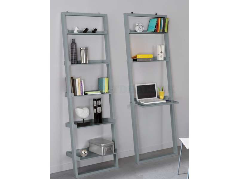 Modern Leaning Bookcase Ladder Shelving Grey