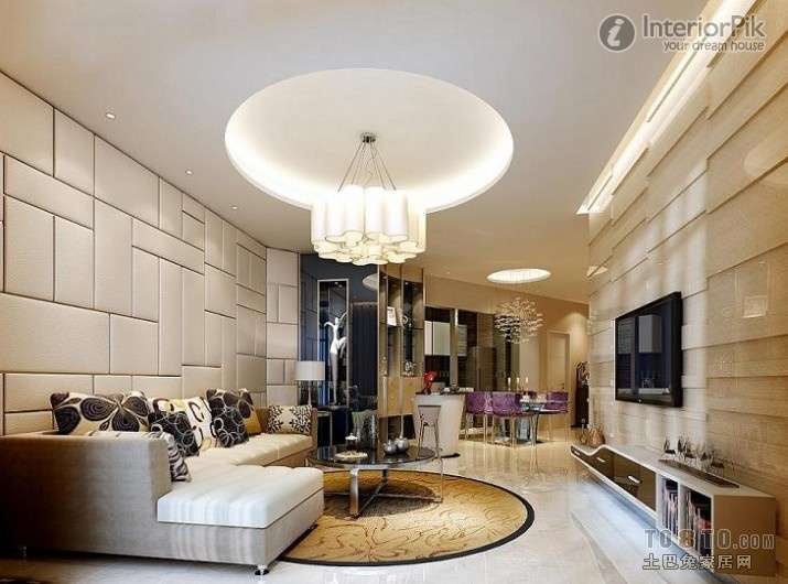 Modern Living Room Chandelier Design Effect