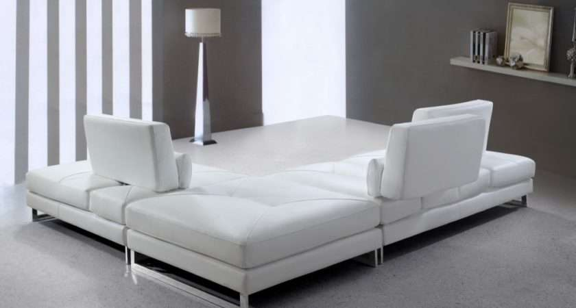 Modern White Leather Sectional Sofa Sofas Sale