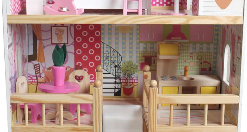 Modern Wooden Kids Dolls House Large Pcs