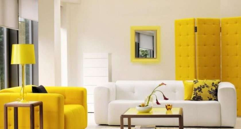 Modern Yellow Living Room Furniture White Interior Wall Color