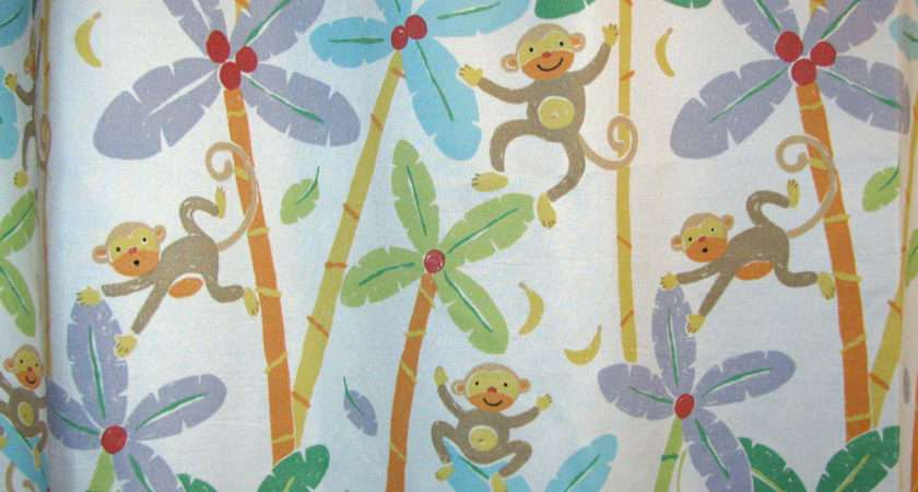More Playful Monkeys Colorful Trees Fabric Shower Curtain Lots