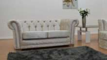 Mulberry Crushed Velvet Studded Seater Chesterfield Sofa