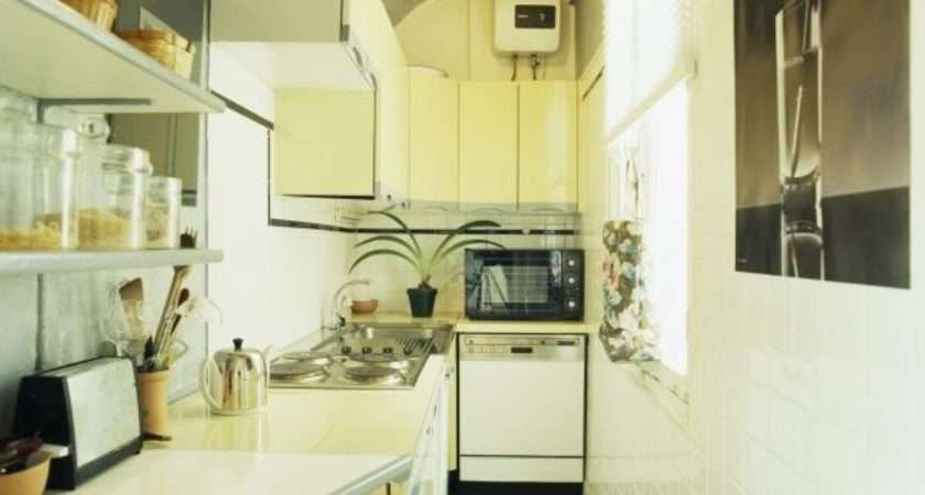 Narrow White Economy Style Galley Kitchen Microwave