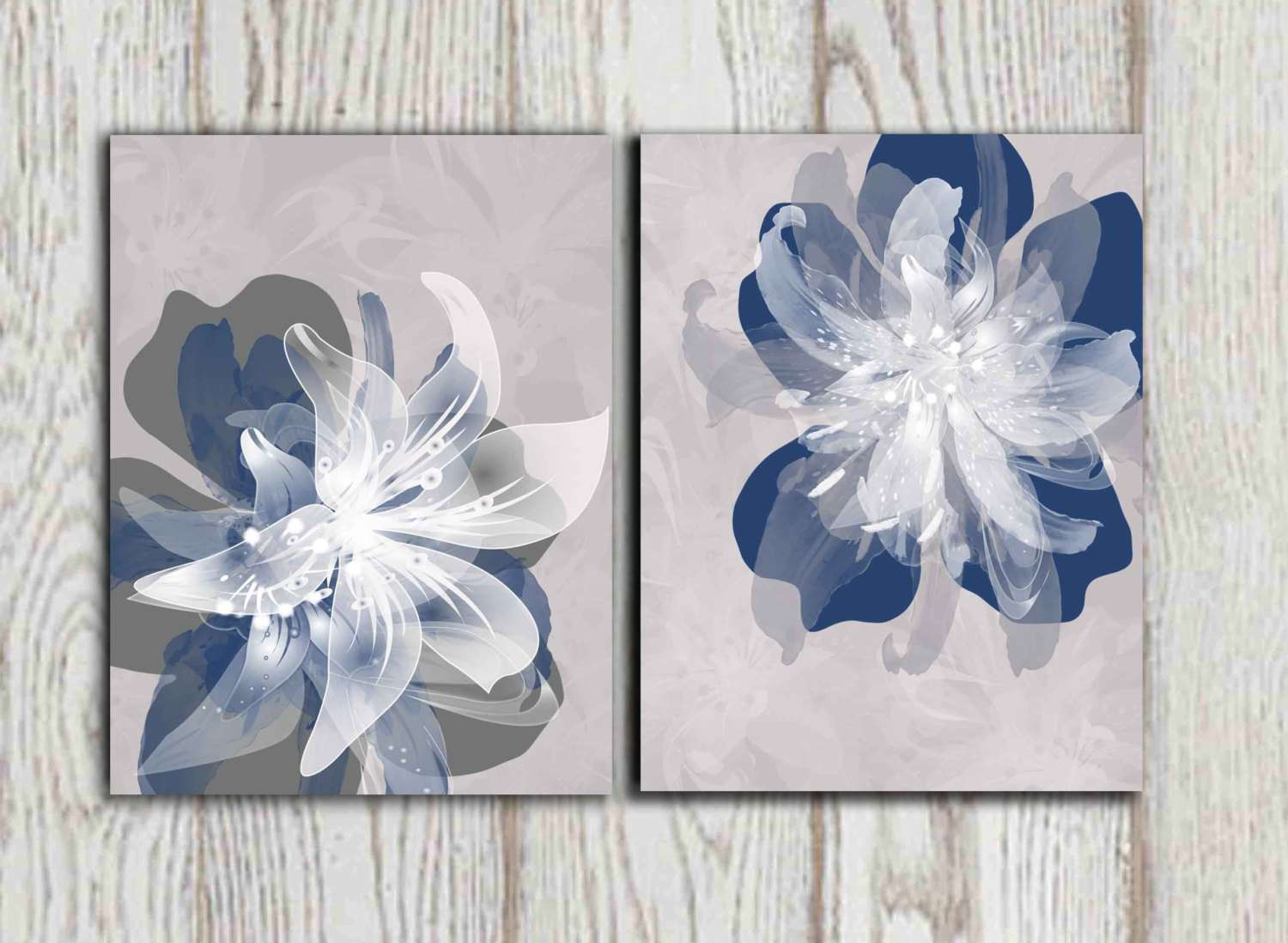 Navy Blue Gray Flower Wall Art Prints Large Poster Dorindaart
