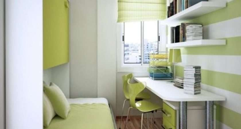 Neat Green Home Office Very Small Bedroom Design Ideas