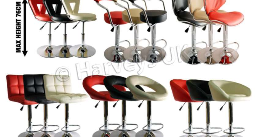 New Faux Leather Kitchen Breakfast Bar Stool Barstools Black Cream Red