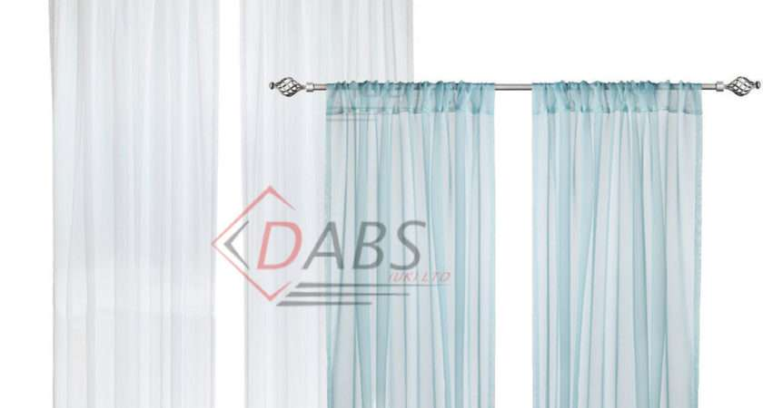 New Ikea Teresia Voile Curtains Pair Long Sheer White Turquoise Blue