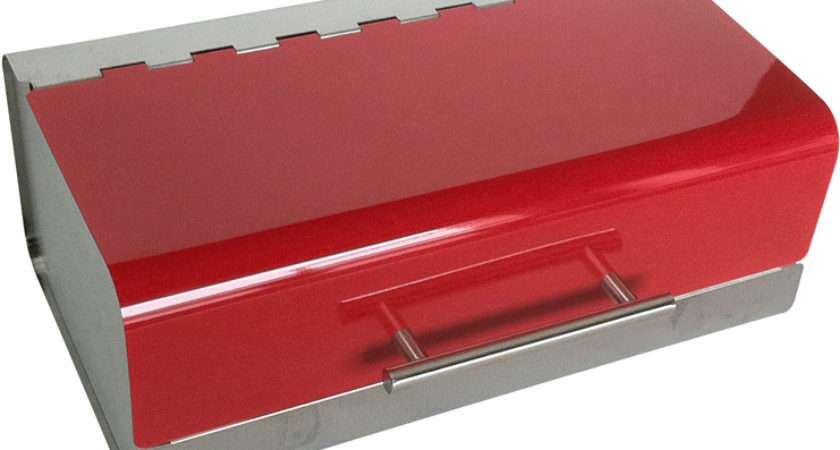 New Red Colour Stainless Steel Rectangle Bread Bin Kitchen Food Loaf