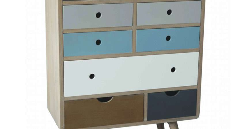 New Retro Style Multicolour Drawers Chest