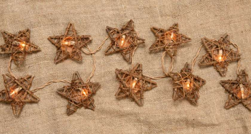 New Star Twig Light Garland String Plugin Primitive French Country