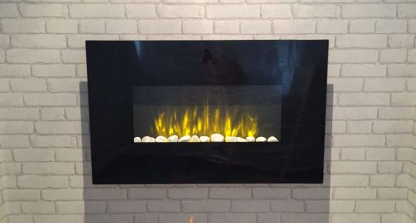 New Wall Mounted Electric Fire Black Flat Glass Colour Side Led