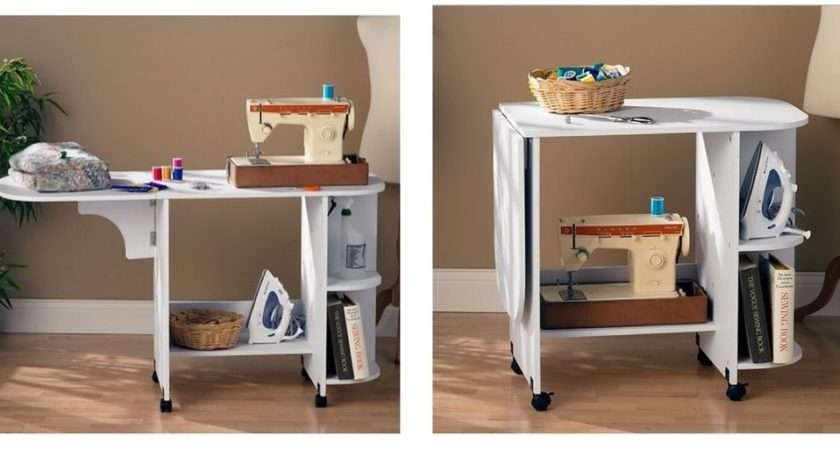 New White Rolling Sewing Machine Craft Table Folding Desk Storage