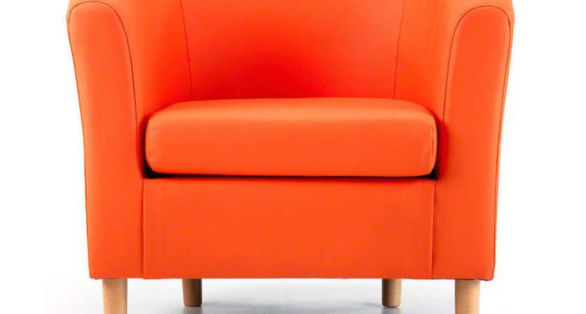 Nicole Orange Faux Leather Tub Chair Next Day Delivery