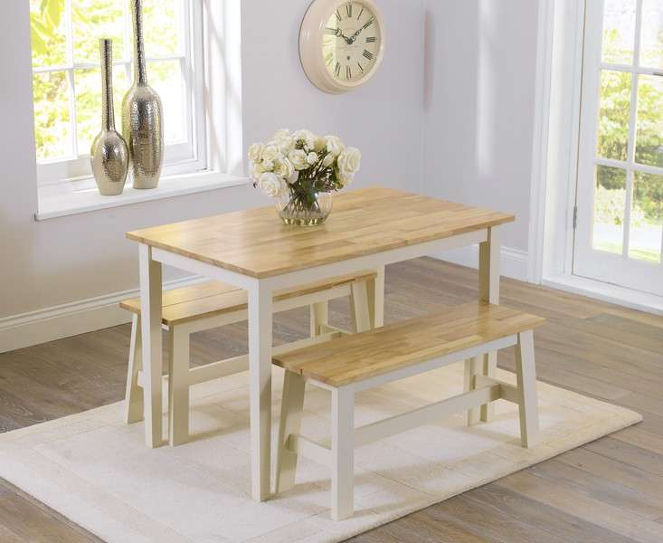 Oak Cream Dining Table Benches Furniture Superstore