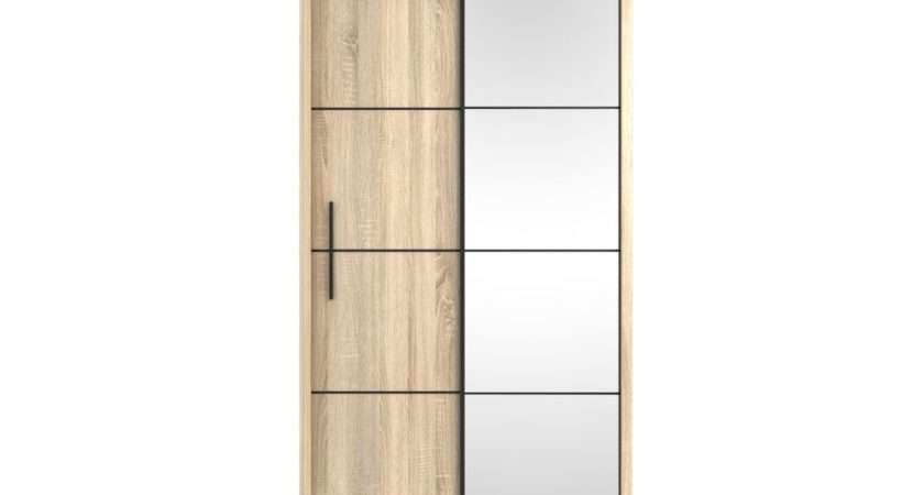 Oak Effect Small Single Sliding Door Mirror Wardrobe Bedroom
