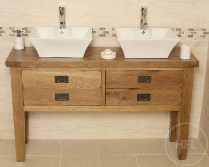 Off Traditional Oak Double Vanity Unit Bathroom Valencia