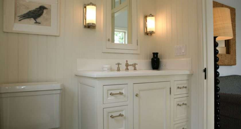 Off White Guest Bathroom Creamy Cabinets