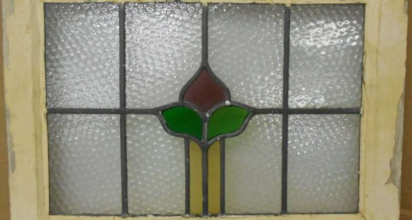 Old English Leaded Stained Glass Window Simple Floral Design