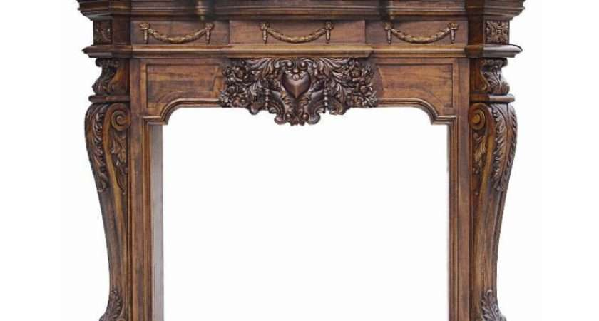 Old World Carved French Style Fireplace
