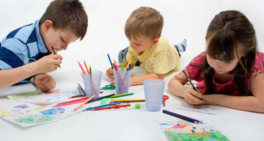 One Girl Two Boys Drawing Isolated White