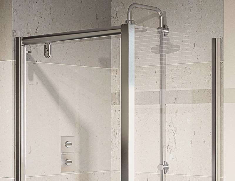 Only Aqualux Aqua Pivot Door Polished Silver Shower