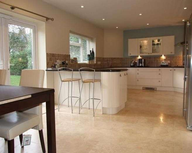 Open Plan Beige Brown Kitchen Diner