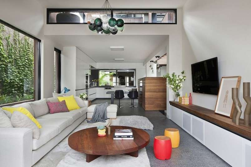 Open Plan Living Area Aussie Home Circular Wooden Table