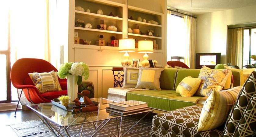 Orange Green Red Livingroom Design Home Combo