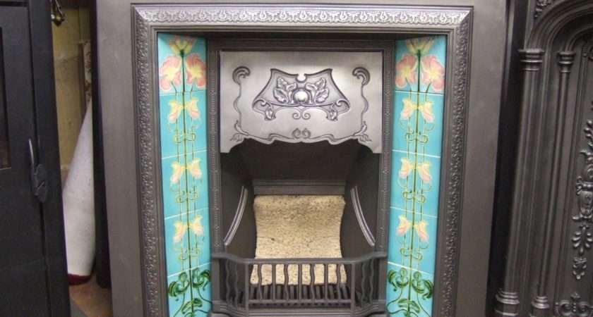 Original Art Nouveau Tiled Fireplace Insert Old Fireplaces