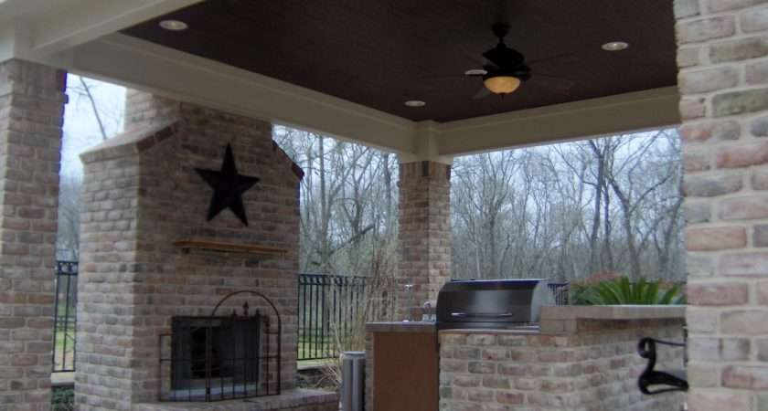 Outdoor Fireplace Charlotte Kitchen Open Porch
